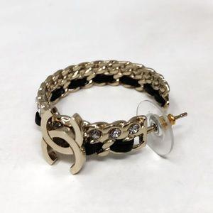 CHANEL CC lambskin crystal chain hoop earring
